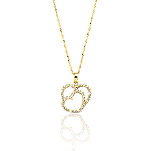 16'' 10k Yellow Gold Two Hearts CZ Charm Necklace with Singapore Chain for Women and Girls by SL Gold Imports