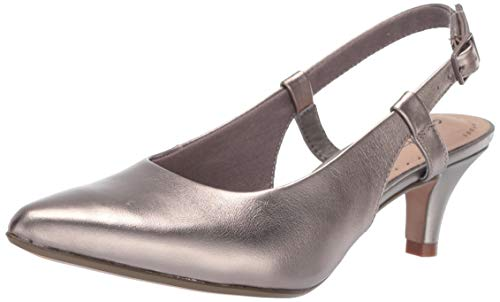 CLARKS Women's Linvale Loop Pump, Pewter Leather, 075 W US