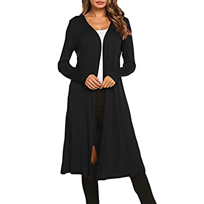 Bluetime Women Plus Size Long Open Front Drape Maxi Cardigan Lightweight Duster Long Sleeve Cardigan Fall (S-4XL) at Women's Clothing store