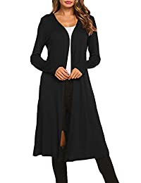 Bluetime Women Plus Size Long Open Front Drape Maxi Cardigan Lightweight Duster Long Sleeve Cardigan (S-4XL)