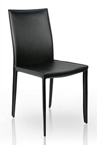 Design Esszimmerstuhl dunord design esszimmerstuhl stuhl verona schwarz leder amazon de