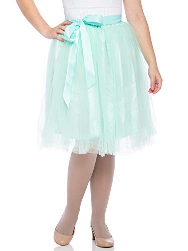 Dancina Women's Knee Length Tutu A Line Layered Tulle Skirt Plus (Size 12-22) Pastel Mint
