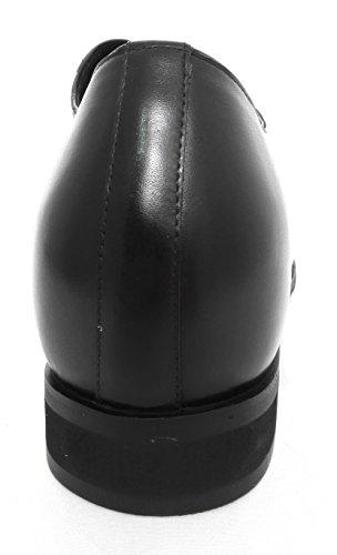 Zerimar Scarpe con Aumentato Interno di 8 cm Realizzata in Pelle di Alta Qualità 100% Pelle Colore Nero Nero