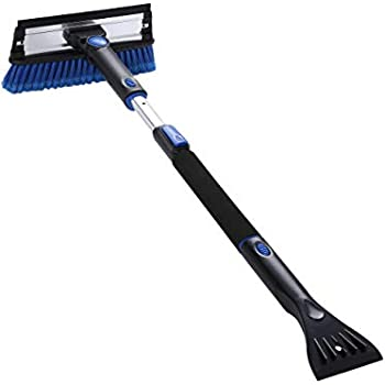 PRAISUN 39 in Snow Brush with Extendable Handle, Ice Scraper and Squeegee, Foam Grip for Winter Usage, Telescoping Frost Remover, Tool for Car's Windshield