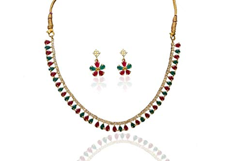 Sansar India Sleek Lightweight Necklace Earrings Indian Jewelry Set for Girls and Women