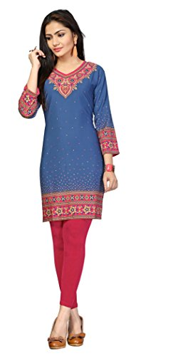Indian Tunic Top Womens Kurti Printed Blouse India Clothing – Small, L 121