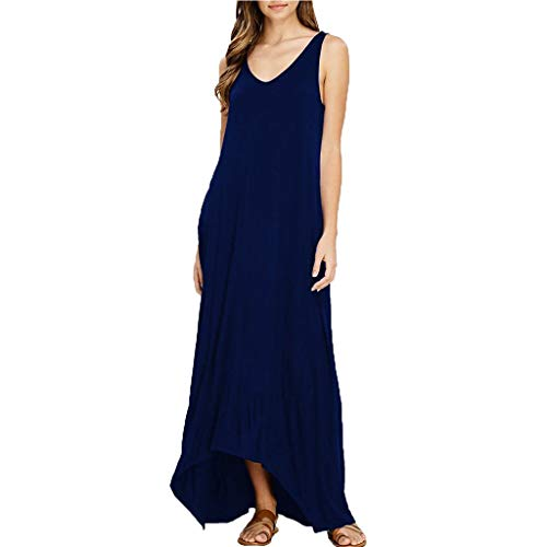 Alangbudu Women Sleeveess Crewneck Tank T-Shirt Flare Plain Pleated Loose Fit Maxi Irregular Puffy Swing Hem Party Dress Dark Blue
