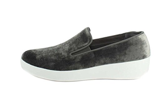 Fitflop Commercio; Mocassino Da Donna In Velluto Superskate ™ Argento