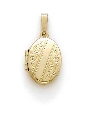14 carats-JewelryWeb Petit Pendentif Médaillon-Locket ovale