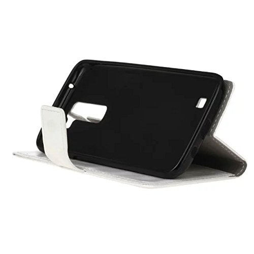 SRY-case LG K7 Case, Crazy Horse Texture Grain Pattern Funda de piel PU Funda de tapa sólida Horizontal Flip Funda funda de caja con ranuras para LG K7 ( Color : Pink , Size : LG K7 ) White