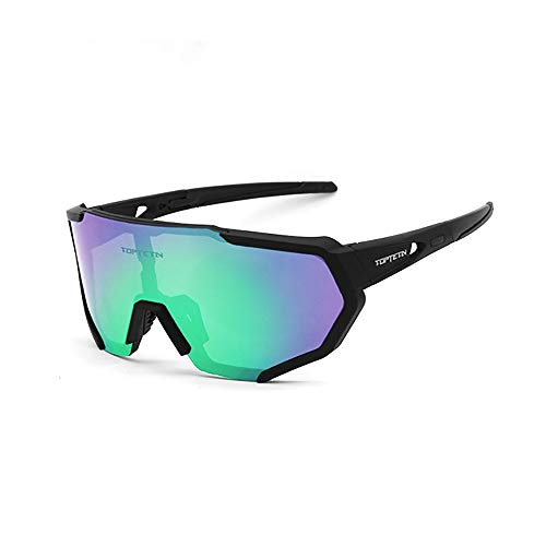 Polarized Sports Sunglasses for Men Women, Bike Glasses with Strap Interchangeable Lens, Bicycle Sunglasses for Driving Cycling Running Fishing Golf Baseball Outdoor Eyewear Shades (green)