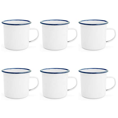 - Argon Tableware Traditional Enamel White Tea/Coffee Mugs - 380ml - Blue Trim - Set of 6