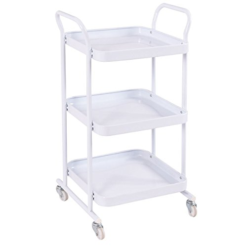 New 3-Tier White Trolley Cart Steel Island Storage Utility Service Dining Rolling Kitchen by totoshopkitchen