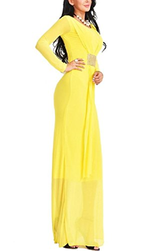 Solid Long Women Yellow Color Long Fitted Slim Sexy Maxi Sleeve Comfy Dress 7IqFq