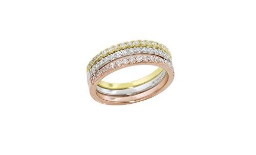 Stainless Steel Tri-color Bangle Bracelets for Women 3-piece Set - 4
