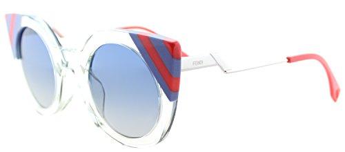 Crystal Green Sunglasses (Fendi FF 0240 1ED Waves Green Crystal Plastic Cat-Eye Sunglasses Blue Gradient Lens)