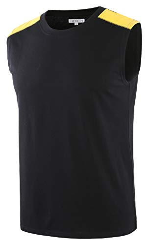 - HARBETH Men's Classic Basic Sleeveless Active Tank Top Jersey Casual T Shirts Black/A.Gold XXL