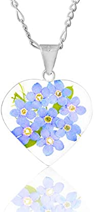 """Natural Forgetmenot Flowers Heart Necklace,18"""" Sterling Silver, TAMI, Floral Je"""