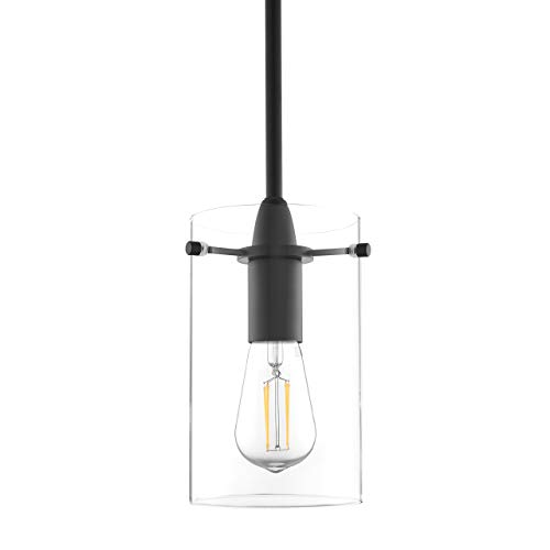 Effimero Medium Hanging Pendant Light | Black Kitchen Island Light, Clear Glass Shade -