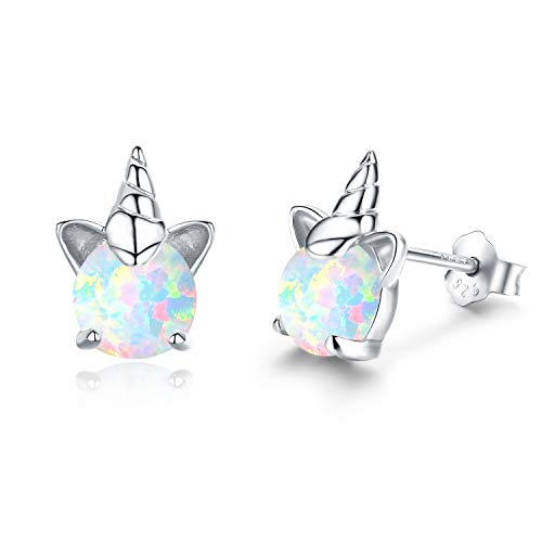 (Hypoallergenic Unicorn Earrings S925 Sterling Silver Synthetic Opal Stud Cute Birthday Gift for Her Stocking Stuffers(A))
