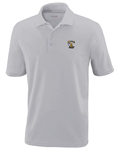 Speedy Pros Vintage Telephone Embroidery Unisex Adult Button-End Spread Short Sleeve Polyester Performance Polo Shirt Golf Shirt - Platinum, X Small