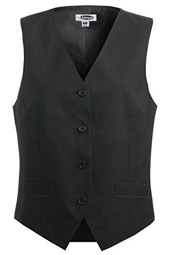 (Ed Garments Women's Fully Lined V-Neck Economy Vest, BLACK, Large)