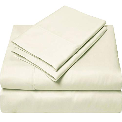 SGI bedding Queen Sheets Luxury Soft 100% Egyptian Cotton Sheets 1000 Thread Count for Queen Mattress Ivory Solid (Best Brands Of Bedsheets In India)