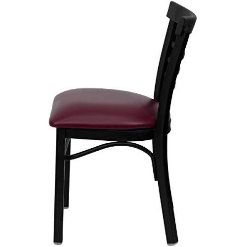 Modern Style Metal Dining Chairs School Bar Restaurant Commercial Seats Ladder Back Design Black Powder Coated Frame Finish Home Office Furniture - (1) Burgundy Vinyl Seat #2153