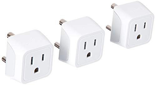 Ceptics USA to India Travel Adapter Plug - Type D (3 Pack) - Dual Inputs - Ultra Compact (Does Not Convert Voltage)