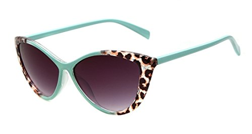Women's STY-K211 Full Frame Leopard Detail Side Cateye Sunglasses (green, - Eye Cat Leopard Sunglasses