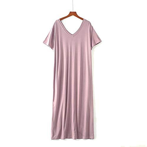 MoMo Modal Women Long Robe Nightdress Sexy Cotton V Neck Nightgown Solid Loose Home Shirt Lounge Intimate Lingerie Korean Sleepwear,Light Purple,One Size