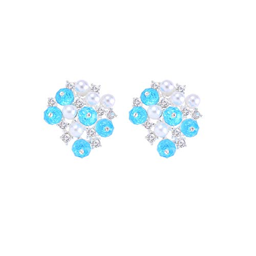 Crystal Aquamarine Blue March Birthstone Clip on Earrings for Women Girls Artificial Pearl Flowers Cluster Bridal Wedding Non Pierced Clip On Earrings with Jewelry Gift Box