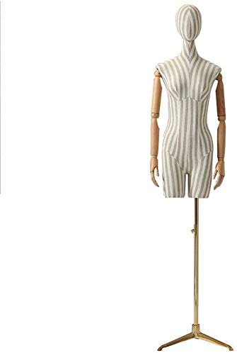 3 Colors Female Mannequin Display Form Stripe Full Body with Adjustable Tripod Stand Dress Form for Clothing Dress Jewelry Display Color : Gold