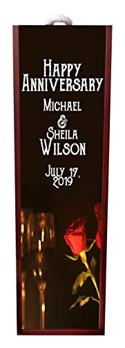 Happy Anniversary Red Roses and Wine Glasses Romantic Wine Box Personalized - Wine Box Rosewood with Slide Top - Wine Box Holder - Wine Case Decoration - Wine Case Wood - Wine Box Carrier ()