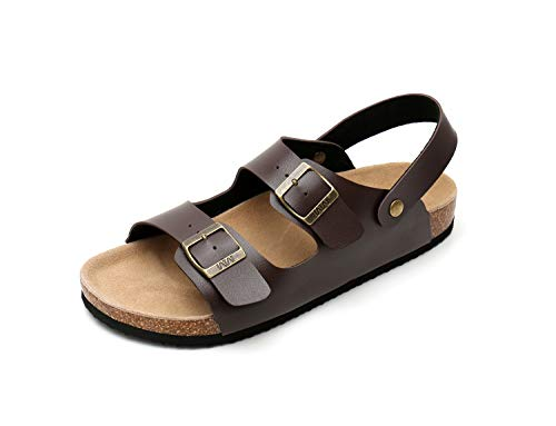 (Slip on Flat Cork Sandals for Men with Adjustable Strap Buckle Open Toe Slippers Suede Sole (US 12, Brown))