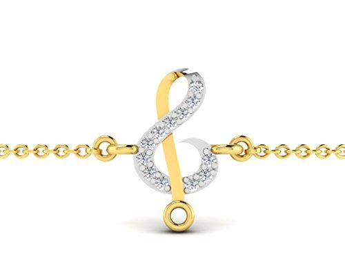 Or Jaune 14 ct Bracelet Diamant en forme de Signe de la musique, 0.02 Ct Diamant, GH-SI, 0.3 grammes.