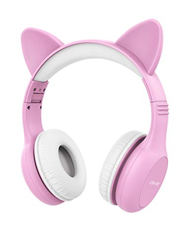 iClever Kids Headphones - Wired Headphones for Kids Stereo Sound Adjustable Headband Cat Ear Microphone Foldable Tangle-Free Wires 94dB Volume Limiting - Childrens Headphones Over Ear, Pink