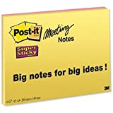 Brand New. Post-it Super Sticky Meeting Notes Pads of 45 Sheets 200x149mm Bright Colours Ref 6845-SSP [Pack 4]
