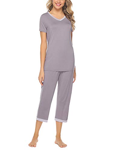(Hawiton Women's Capri Pants Pajamas Set Cotton Stretchy Knit Short Sleeve Sleepwear S-XL Dark Grey)