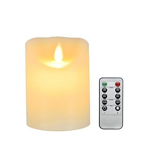 Flameless Candle, Dreamiracle Real Wax Flickering Realistic LED Candle Light Battery Operated Electric Pillar Candles with Remote Control Timer Outdoor (4 Inch Yellow)