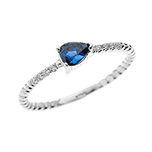 14k White Gold Dainty Diamond and Pear Shape Sapphire Rope Design Promise Ring