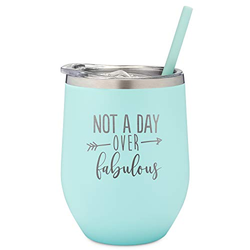 Not A Day Over Fabulous | Birthday Wine Glass | 12 oz Mint Stainless Steel Vacuum Insulated Wine Tumbler with Lid and Straw (ENGRAVED) | Perfect Birthday Gift for Her | Christmas Gift Stocking Stuffer