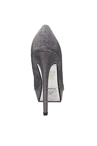 buyAzzo Damen Spitze High Heels   Glitzer Pumps   Damenschuhe Stilettos   Plateau Partyschuhe   BAGH6168 Schwarz
