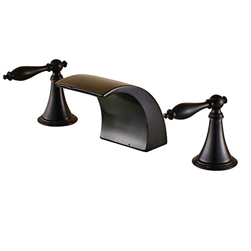 Senlesen Widespread Waterfall Spout Bathroom Basin Sink Faucet Three Holes Dual Handles Deck Mounted Mixer Tap Oil Rubbed Bronze