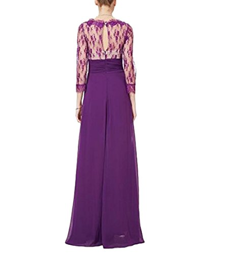Neck BOwith Party Purple Lace Evening Sleeve Gown V Party Dress 3 Sheer 4 Wedding HURngHA