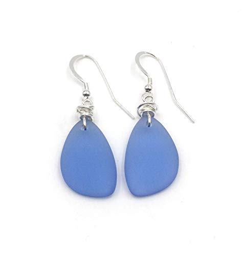 Popular Dusty Periwinkle Blue Sea Glass Earrings with Handmade Knot and Sterling Silver Hooks by Aimee Tresor