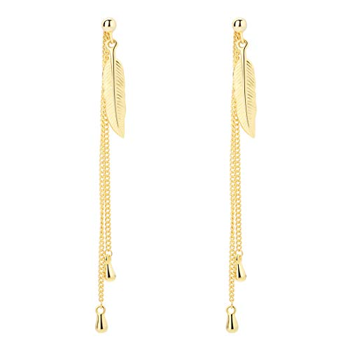 SA SILVERAGE Sterling Silver Gold Plated Feather Threader Drop Dangle Earrings for Women (Gold Color)