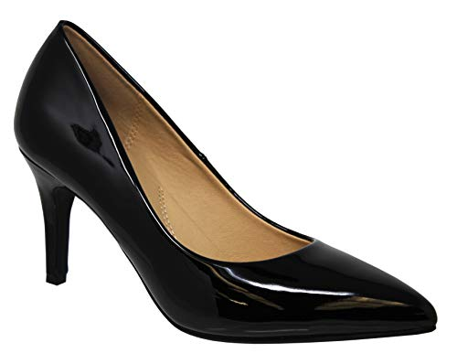 (MVE Shoes Women's Open Toe Ankle Strap High Heels-Stiletto Dress Pumps - Single Band Sexy Party Shoes, Coen Black PAT 8)