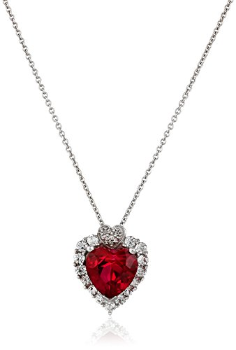 Sterling Silver, Created Ruby, Created White Sapphire, and Diamond Heart Pendant Necklace (.015 cttw, I-J Color, I2-I3 Clarity), 18