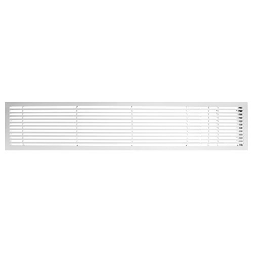 Architectural Grille 200064222 AG20 Series 6'' x 42'' Solid Aluminum Fixed Bar Supply/Return Air Vent Grille, White-Matte with Right Door by Architectural Grille